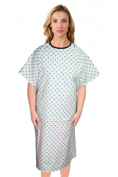 PATIENT GOWN HALF SLEEVE BACK OPEN, TIE-ABLE  FROM TWO POINTS GREEN SQUARE PRINT