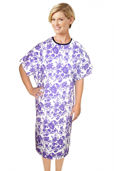 Patient gown half sleeve printed back open, tie-able  from two points  petal purple print Chest 54 Inches Length 45 inches $6.25 and Chest 80 inches Length 49 inches $9.25