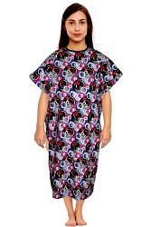 Patient gown half sleeve printed back open, tie-able  from two points ring print Chest 54 Inches Length 45 inches $6.25 and Chest 80 inches Length 49 inches $9.25