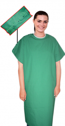 Patient gown half sleeve with contrast piping back open, shoulder opening with snap buttons tie-able  from two points Chest 54 Inches Length 45 inches $7.25 and Chest 80 inches Length 49 inches $10.25
