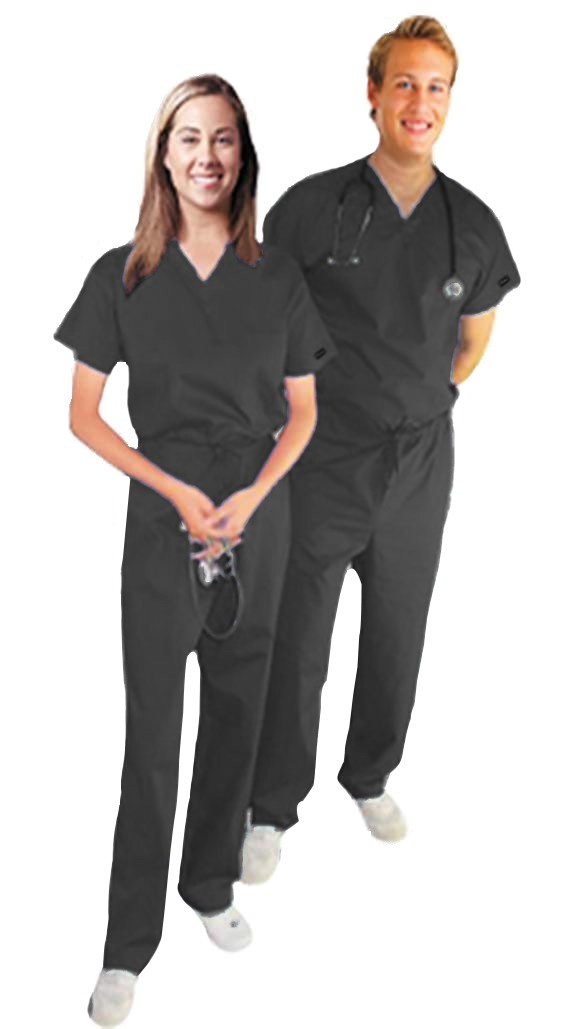Stretchable Scrub Set 2 Pocket Normal Unisex Solid Half Sleeve (Top 1 Pocket with Bottom 1 Pocket) in 97% Cotton 3% Spandex