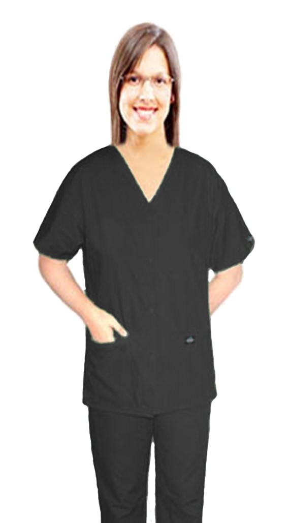 Stretchable Scrub set 4 pocket solid ladies front open v-neck with snap buttons half sleeve (2 pocket top 2 pocket boot cut pant) in 35% Cotton 63% Polyester 2% Spandex