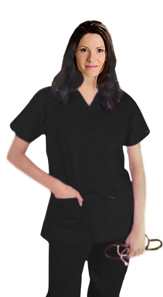 Stretchable Scrub set 5 pocket ladies solid half sleeve (2 pocket top, 3 pocket pant) in 97% Cotton 3% Spandex