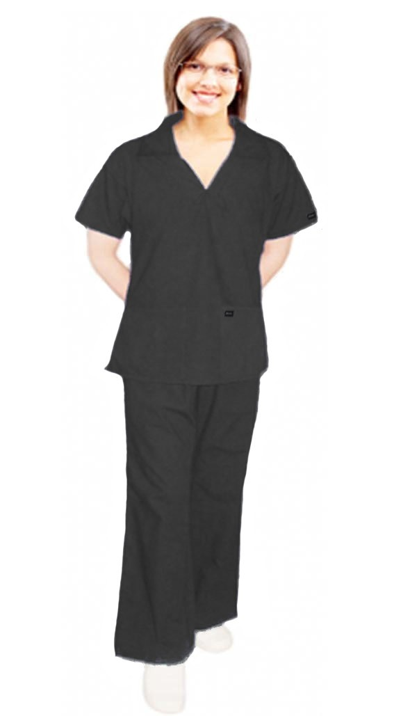 Stretchable Scrub set 4 pocket ladies with v-neck collar style top half sleeve with flare leg pant (top 2 pocket with 2 pocket pant) in 97% Cotton 3% Spandex