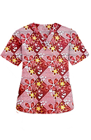 Top v neck 2 pocket half sleeve in Brown flowers with yellow filling print (100% Polyester Fabric)