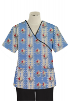 Printed scrub set mock wrap 5 pocket half sleeve in Red And Peach Tulip Print With Black Piping  (top 3 pocket with black bottom 2 pocket boot cut)