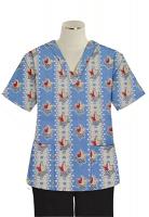 Printed scrub set 4 pocket ladies half sleeve Red And Peach Tulip Print (2 pocket top and 2 pocket black pant)