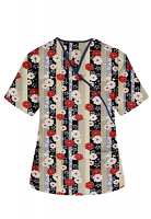 Top mock wrap 3 pocket half sleeve in Red and Beige flowers with Grey backgroud with Black Piping
