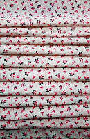 Red and Black flower Print Loose Fabric Width 64 Inch (52% Polyester & 48  Cotton ) Per Meter