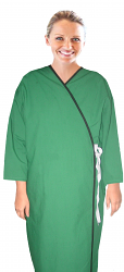 Microfiber new patient gown full sleeve with contrast piping front open tie able, Sizes XS-9X
