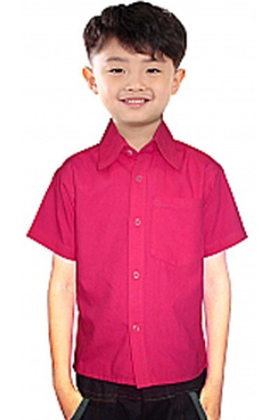 Children poplin shirt half sleeves 1 chest pocket