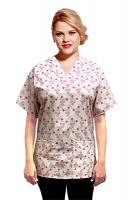 Top v neck 2 pocket half sleeve in Small Pink Flower Print