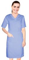 Stretch Nursing dress half sleeve elastic waist v neck with 3 front pockets below knee length