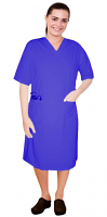 Stretch V neck half sleeve nursing dress with zip and 2 front pockets knee length