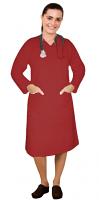 Stretch V neck full sleeve nursing dress with 2 front pockets knee length