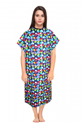 Patient gown half sleeve printed  back open, tie-able  from two points Technicolor hearts print Chest 54 Inches Length 45 inches $6.25 and Chest 80 inches Length 49 inches $9.25