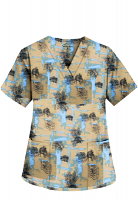 Printed scrub set 4 pocket ladies half sleeve Turquoise and Black Obstract art (2 pocket top and 2 pocket black pant)