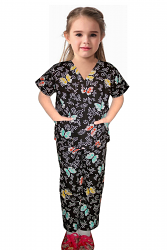 Printed children's scrub set 3 pocket half sleeve (top 2 pocket with bottom 1 pocket)