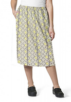 Cargo pockets ladies skirt in Yellow petal and Grey print