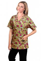 Top v neck 2 pocket half sleeve in paris print