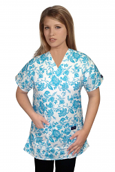 Top v neck 2 pocket half sleeve in petal blue print