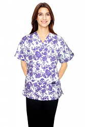 Top v neck 2 pocket half sleeve in petal purple