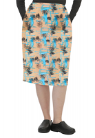 Cargo pockets ladies skirt in Turquoise and Black Obstract art