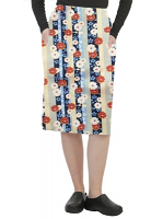 Cargo pockets ladies skirt in Red and Beige flowers with blue background