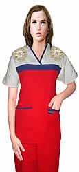 STYLISH SET Golden Flower Empire Wrap Style Set 5 Pocket Half Sleeve (Top 2Pkt With Bottom 3Pkt)