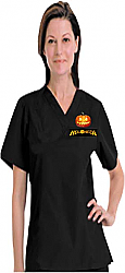 Halloween 1 pocket scrub top half sleeves