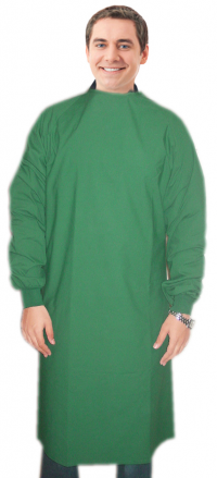 Surgical gown in full sleeve with rib Back-open tie-able