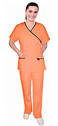 Halloween scrub set mock wrap 5 pocket solid half sleeve (top 3 pocket with bottom 2 pocket boot cut)