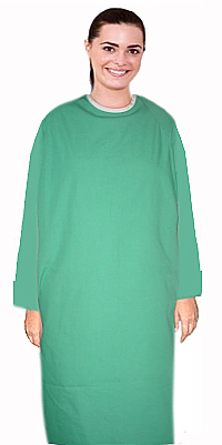 Patient gown full sleeve with contrast piping back open, tie-able  from two points Chest 54 Inches Length 45 inches $6.74 and Chest 80 inches Length 49 inches $9.74