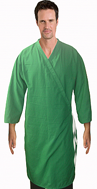 PATIENT GOWN FRONT OPEN TIEABLE 3/4 SLEEVE WITH PLAKET AT COLLAR