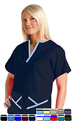 Microfiber set 5 pocket ladies y-neck style half sleeve (top 2 pocket with bottom 3 pocket)