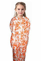 Children printed scrub jacket with rib 2 pocket snap button