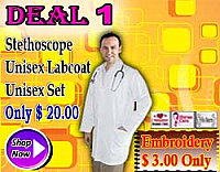 Deal 1(stethoscope, unisex poplin labcoat, unisex normal scrub set)