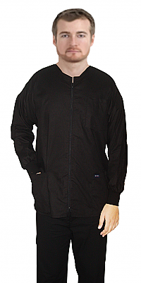 Jacket 3 pocket solid full sleeve unisex with zip rib