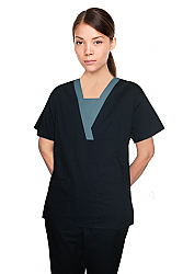 Contrast v-neck insert trim 2 pocket top pleats half sleeve