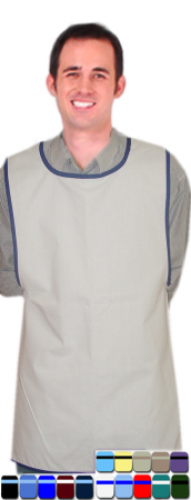 SMOCK APRON SOLID WITH CONTRAST PIPING