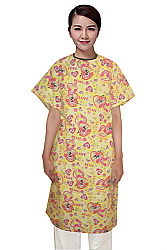 Patient gown half sleeve printed back open, tie-able  from two points love peace yellow print Chest 54 Inches Length 45 inches $6.25 and Chest 80 inches Length 49 inches $9.25