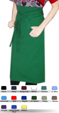 APRON POPLIN SOLID WITH 1 FRONT POCKET BACK OPEN
