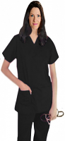 Only For USA Customers Clearance Bundle Pack of 3 Stretchable Top v neck 2 pocket half sleeve in Black Ash Color Size 2X (Per top price $7.75)
