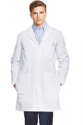 POPLIN LABCOAT UNISEX FULL SLEEVE WITH PLASTIC BUTTONS 3 FRONT POCKETS WITH SIDE INSIDE POCKETS(ACCESS TO POCKETS FROM SIDE)  (48 PERC COTTON 52 PERC POLYESTER)  IN 36 38 40 42 LENGTHS