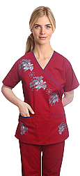 Christmas scrub set with mock wrap crystal print 5 pocket half sleeves (top 3 pocket with bottom 2 pocket boot cut)