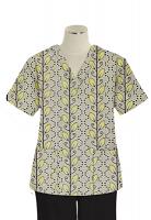 Printed scrub set 4 pocket ladies half sleeve Yellow petal and Grey print (2 pocket top and 2 pocket black pant)