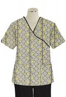 Printed scrub set mock wrap 5 pocket half sleeve in Yellow petal and Grey print Print With Black Piping  (top 3 pocket with black bottom 2 pocket boot cut)