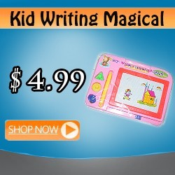 kid writing magical pad